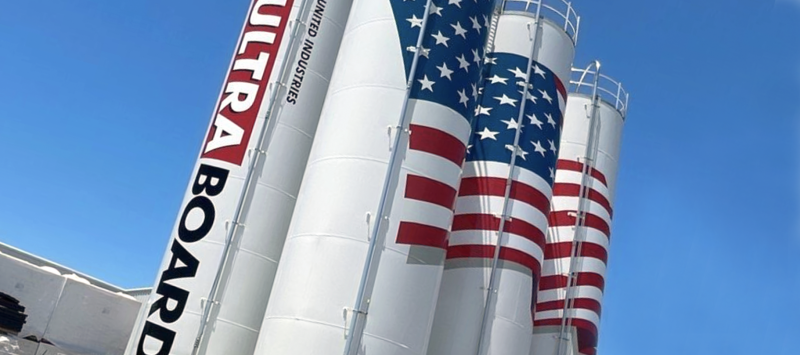 United Industries UltraBoard New Silos Bentonville Arkansas American Flag Logo Wrap